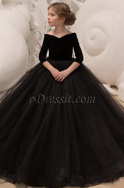 black off the shoulder wedding girl dress