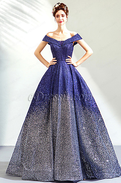 Sexy Blue Sequins Off-Shoulder Party Evening Gown
