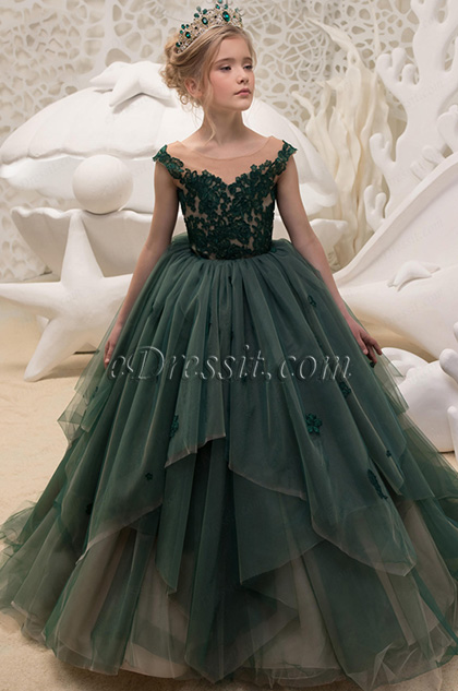 empire layered skirt lace embroidery green flower girl dress