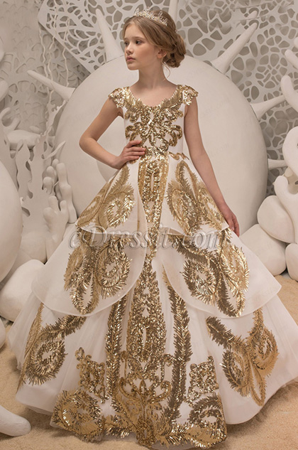 empire cap sleeves gold embroidery ball dress for girl