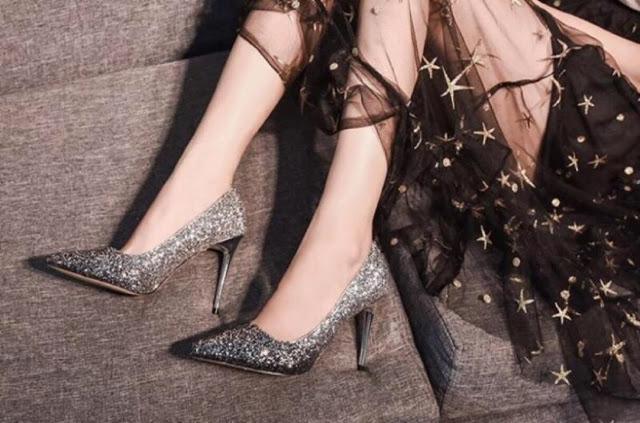 sparkling high heel for women, glitter high heels