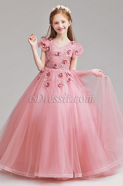 lovely pink ball dress with flowers