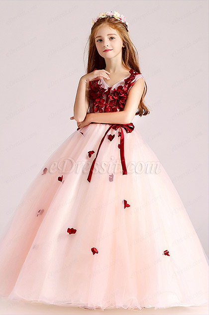 kids girl floral decorated top v cut red dress