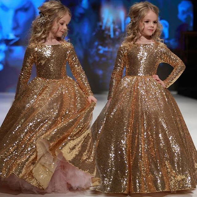 gold sequin wedding flower girl dress
