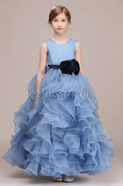 sleeveless rose skirt baby blue kids girl dress