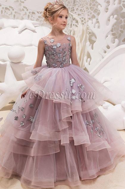 handmade floral puffy layered wedding girl dress