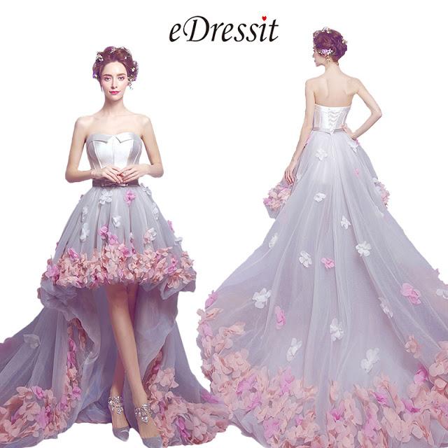 Corset Flower Long Train Wedding Party Dress
