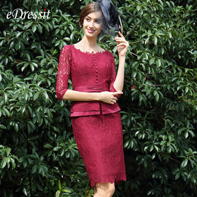 Burgundy Lace Mother of the Bride Women's Dress