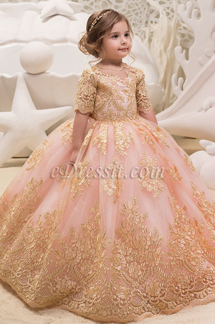 round neck half sleeves gold embroidery pink ball dress