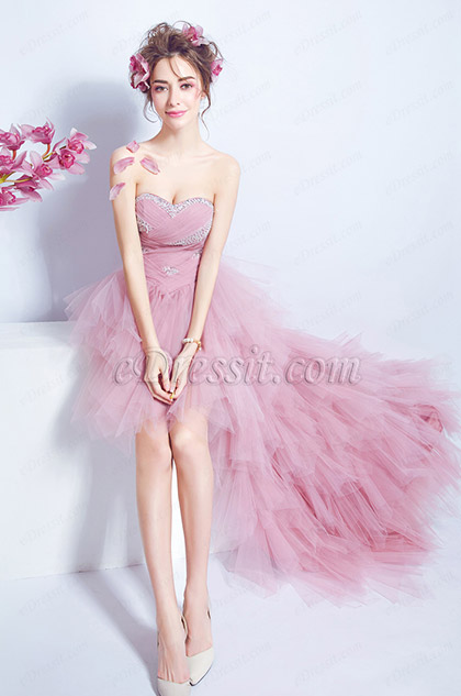 corset fitted high low pink prom dress