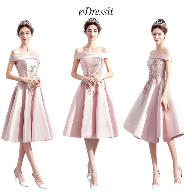 Pink OFF Shoulder Lace Women Party Dress
