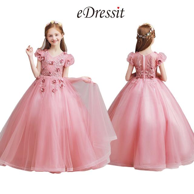 Long Lovely Pink Flower Girl Dress