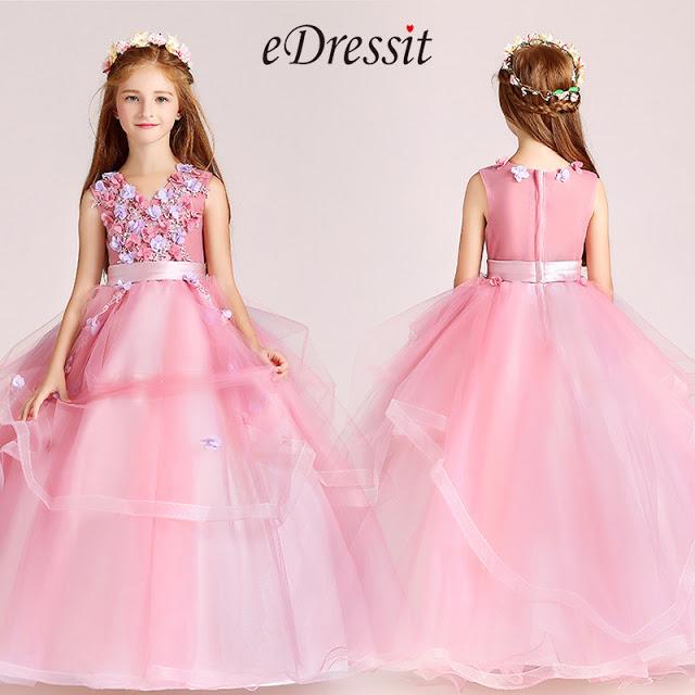 cute pink flower girl dress with v neck sleeveless design