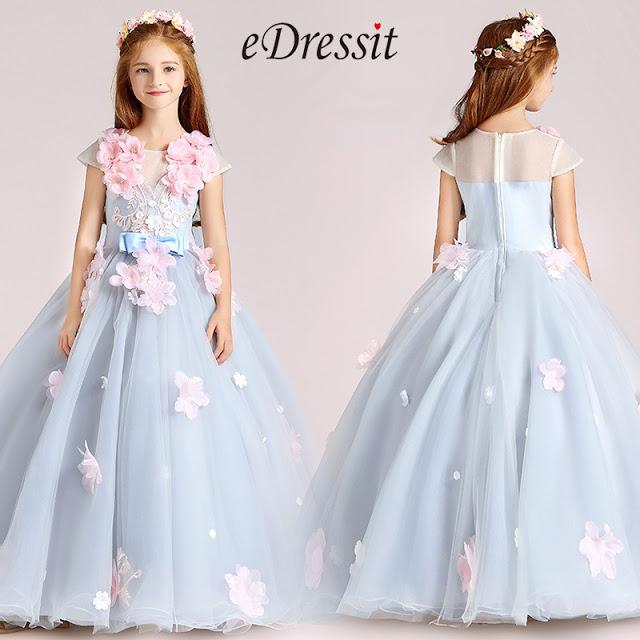 light blue handmade flowers princess flower girl dress