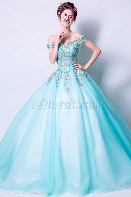 water green off shoulder embridery prom ball gown