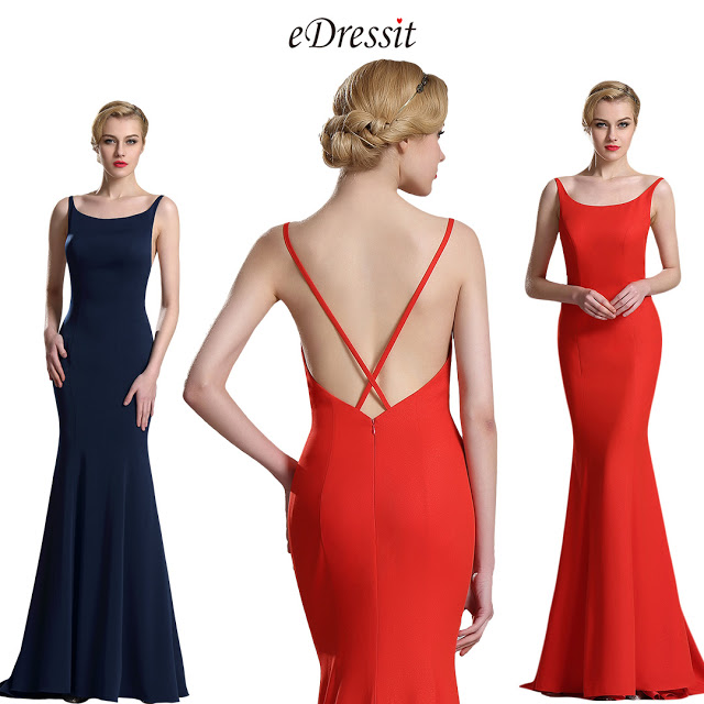 Navy Blue Strapped Mermaid Evening Prom Dress