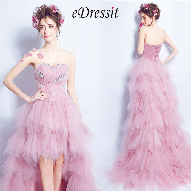 corset fitted sequins high low prom dress