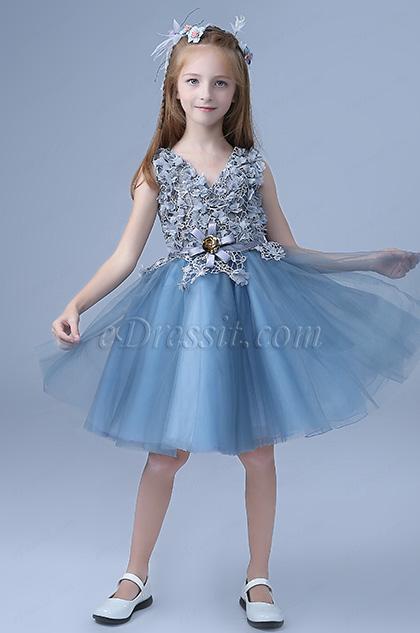 sleeveless short wedding flower girl dress blue