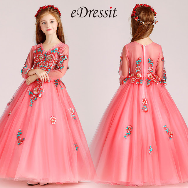 embroidery coral wedding flower girl dress
