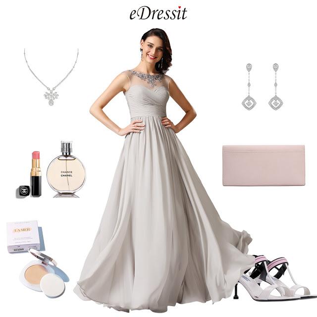 Illusion Applique Sweetheart Grey Evening Dress Formal Dress