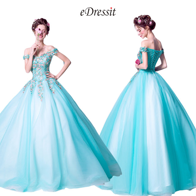 Water-Green Off Shoulder Embroidery Party Prom Ball Gown