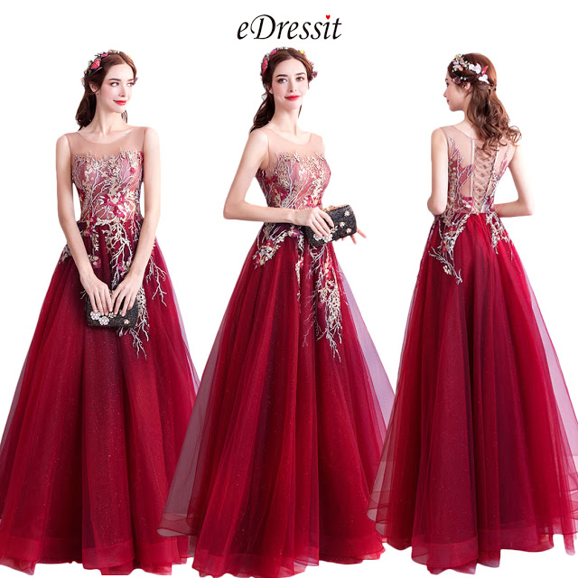 Burgundy Embroidery Sleeveless Prom Party Dress