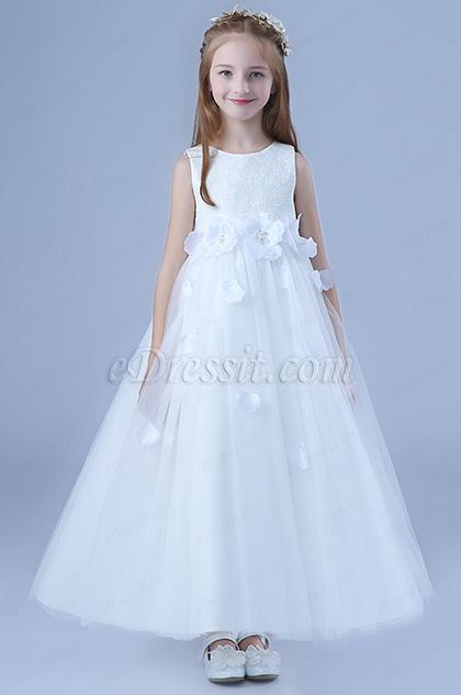 bowknot white wedding flower girl dress