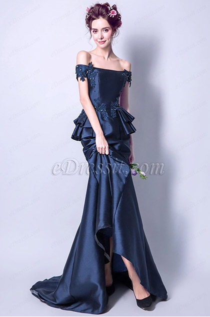 off the shoulder navy blue mermaid evening gown
