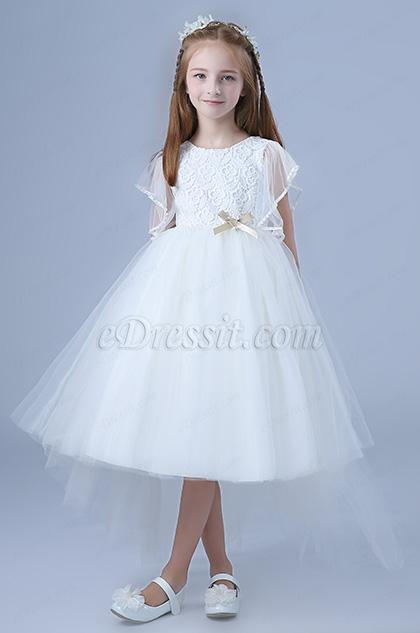 white tulle flower girl dress short