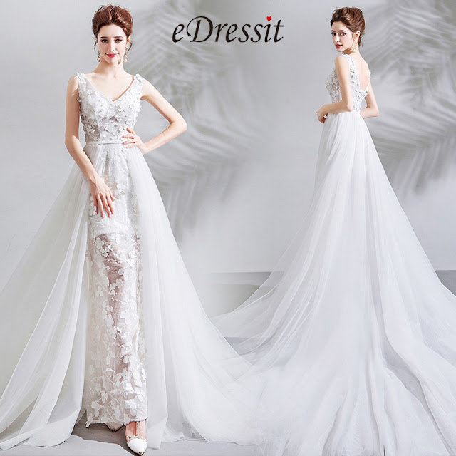 Sexy V-Cut Lace Tulle Long Formal Wedding Bridal Dress