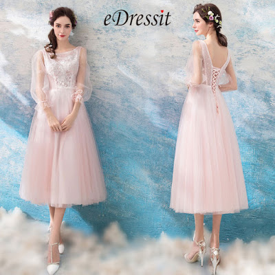 Pink Sleeves Tea Length Tulle Party Evening Dress
