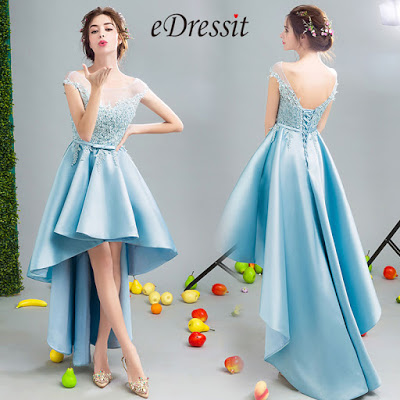 Blue Sexy Embroidery Elegant Party Evening Dress