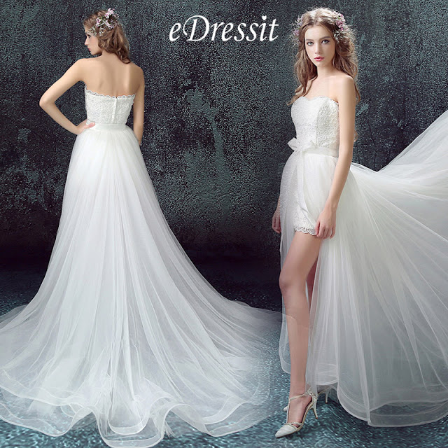 white sexy strapless wedding gown with slit