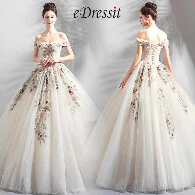 White Off-Shoulder Beaded White Tulle Wedding Dress