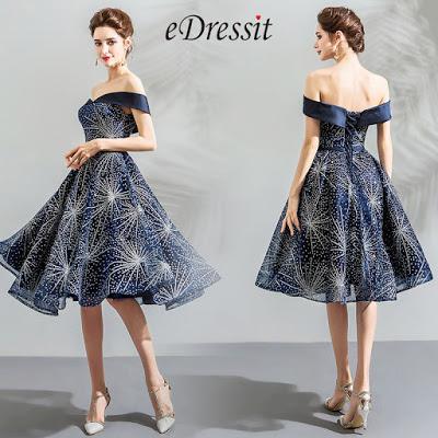 Blue Off Shoulder Sparkle Sleeves Short Party Dress