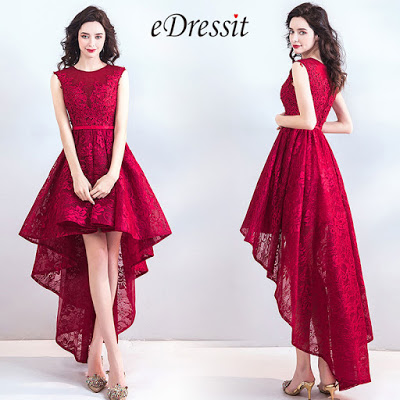 Red Sexy Lace Elegant Party Evening Dress