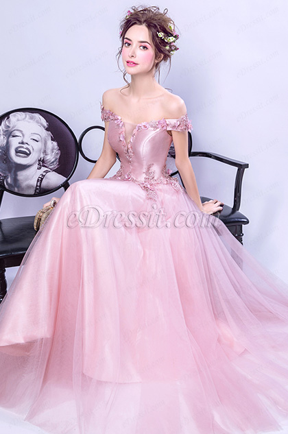 Pink Off Shoulder Floral Lace Party Ball Dress