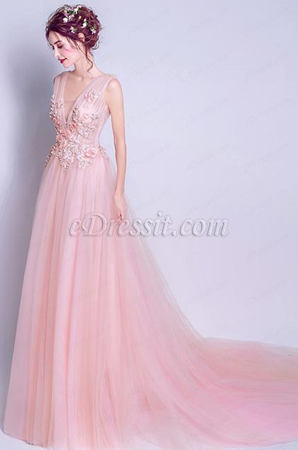 Pink Deep V -Cut Straps Elegant Party Ball Dress