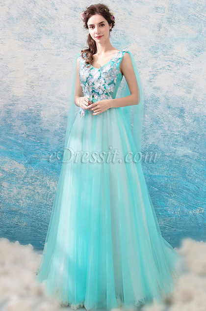 Sexy V-Cut Floral Tulle Party Formal Women Dress