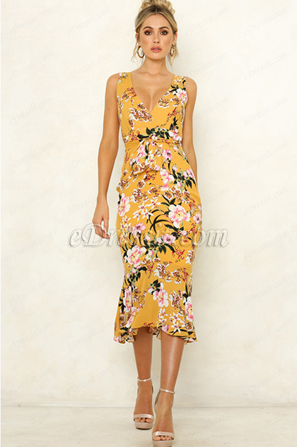 Sexy Mermaid Yellow Printed Dress Summer Wear