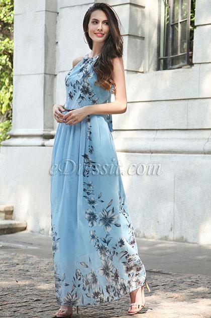 Long Halter Printed Summer Dress