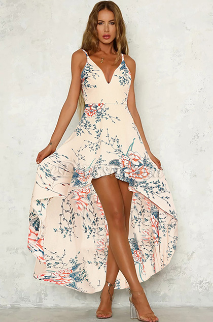 Spaghetti Straps Printed Day Dress