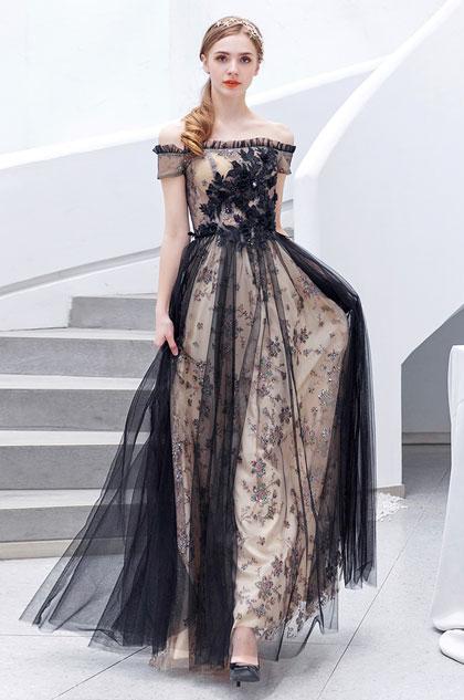 sexy black dress off the shoulder