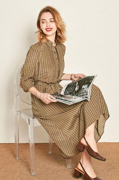 chic plaid printed shirt dress