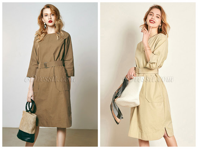 High Quality 3/4 Sleeves Day Dress