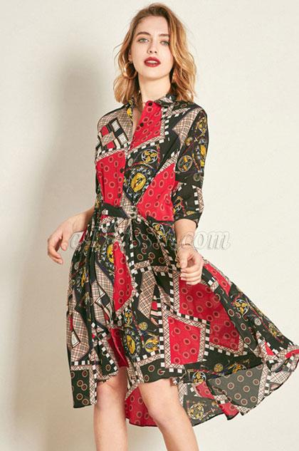 Classic Silk 1/2 Sleeves Printed Tunic Dress