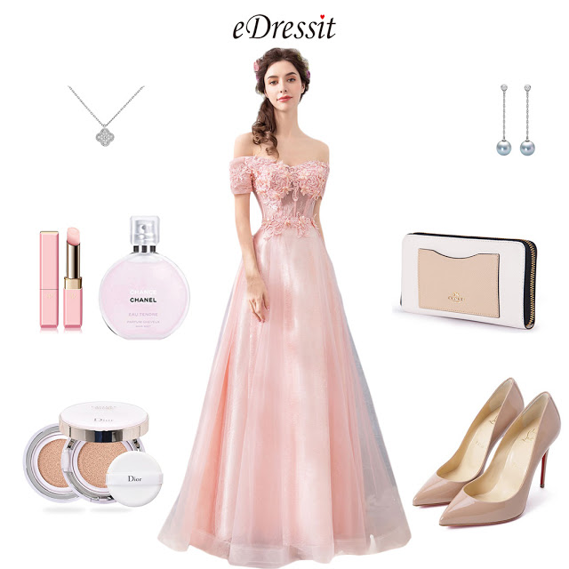 Pink OFF Shoulder Embroidery Party Ball Gown