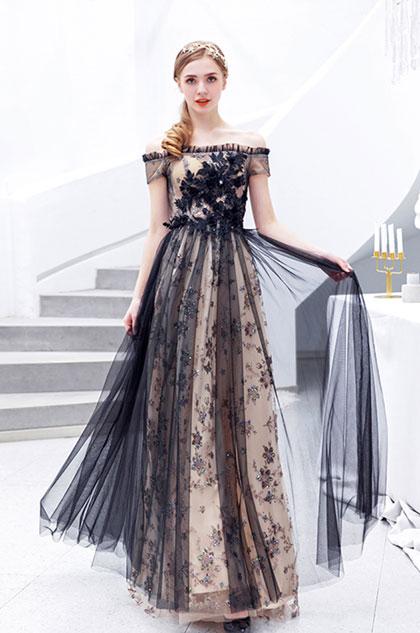 black prom dress off the shoulder