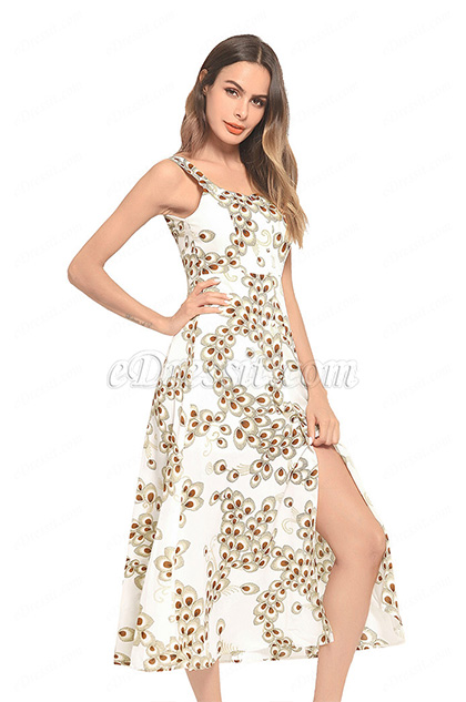 Straps Long Printed Holiday Dress Summer Dress