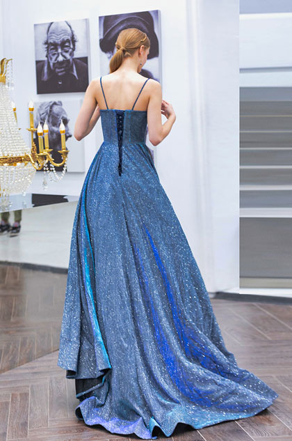 fashion blue prom dress